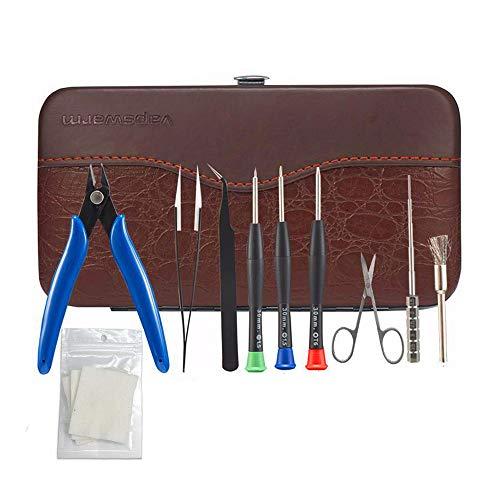DIY Tool Kit for Home Repair or Tool Kit DIY RTA RDA RBA Building Coil Jig Allen Screwdriver Scissors Pliers Ceramic Tweezer Brush 9 in 1 Leather case (Rba Jig)