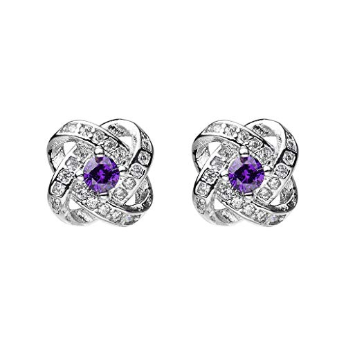 Drop It Bangles (Women Earrings Stud Simple Fashion Diamond Eternal Star Zirconia Stone Jewelry Set Gift (Free Size, Purple))