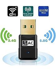 Adattatore WiFi - Maxesla AC 600Mbps Mini Chiavetta WiFi Antenna Dual Bande 5.8GHz/2.4GHz Compatibile con Windows XP / Vista / 7 / 8 / 10, Ubuntu Linux, Mac OS X 10.6-10.14