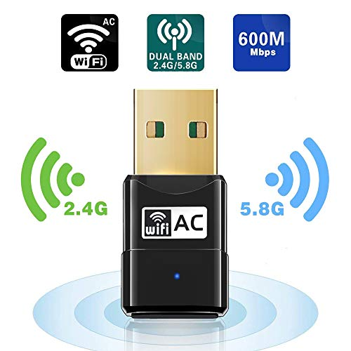 USB WiFi Adapter - Maxesla 600M Mini WiFi Dongle 802.11ac Dual Band 2.4/5GHz Wireless Network Adapter for PC/Desktop/Tablet/Laptop, Compatible with Windows, Mac OS X from Maxesla