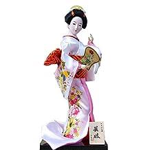 Japanese Geisha Doll In White Kimono Furnishing Articles, Random Style