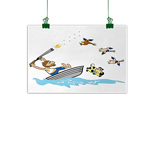 Hunting Modern Oil Paintings Boating Aged Man Shooting Wild Ducks and Funny Dog Falling Into Water Cartoon Style Canvas Wall Art 24