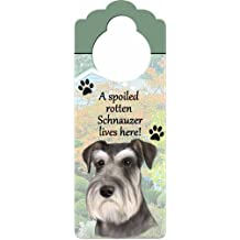 "Schnauzer Wood Sign ""A Spoiled Rotten Schnauzer Lives Here""with Artistic Photograph Measuring 10 by 4 Inches Can Be Hung On Doorknobs Or Anywhere In Home"