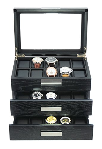 - TimelyBuys 30 Ebony Wood Watch Box Display Case 3 Level Storage Jewelry Organizer with Glass Top, Stainless Steel Accents, and 2 Drawers ...