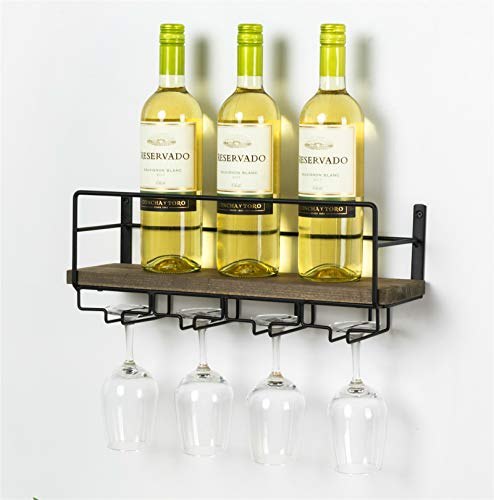 SODUKU Wall Mounted Rustic Wood Wine Rack with 4 Long Stem Glass Holder | Home Kitchen Décor | Storage Rack ()
