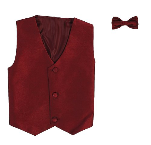 (Vest and Clip On Boy Bowtie set - BURGUNDY -)