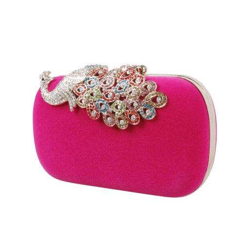 BMC Womens Elegant Rhinestone Peacock Clasp Velvet Cocktail Evening Handbag-PINK