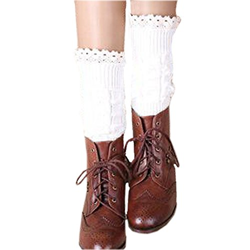 Riccos  Tm  Womens Fashion Winter Kintted Stretchy Warm Short Boot Toppers Leg Warmer Sock With Lace Trima  White