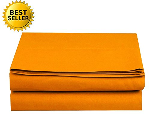 [Luxury Flat Sheet Elegant Comfort Wrinkle-Free 1500 Thread Count Egyptian Quality 1-Piece Flat Sheet, Full Size, Vibrant Orange] (Full Flat Sheet)