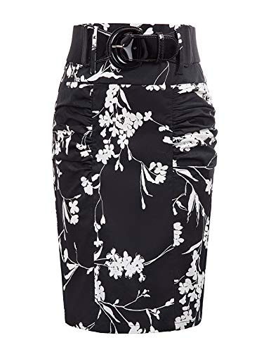 Plus Size Women's Bodycon Pencil Skirt with Belt, Floral-14, XXL