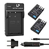 LP EN-EL9 EN EL9a Battery Charger Set, 2-Pack Battery & Charger, Compatible with Nikon D40, D40X, D60, D3000, D5000 Cameras, Replacement for MH-23