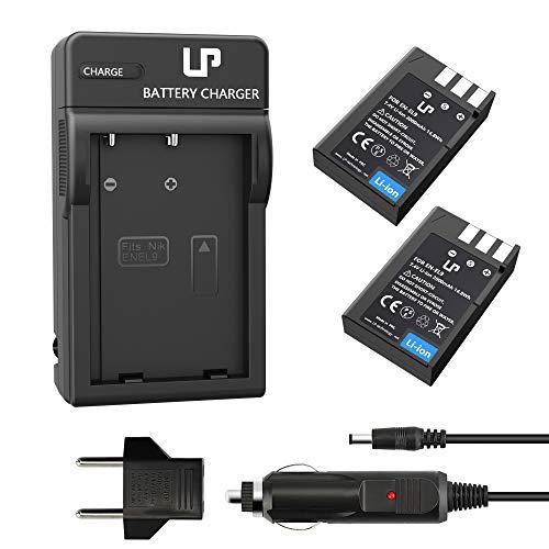 LP EN-EL9 EN EL9a Battery Charger Set, 2-Pack Backup Battery and Charger, Compatible with Nikon D40, D40X, D60, D3000, D5000 Cameras, Replacement for Nikon EN-EL9, EN-EL9a Battery and MH-23 Charger