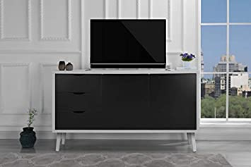 Amazon Com Modern Wooden Tv Stand Cabinet With Drawers Dark Grey