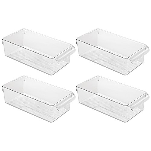 Medium Cupboard (InterDesign Linus Pullz Kitchen Pantry Storage Organizer – Food Container Drawer, Clear, Medium,  4-Pack)
