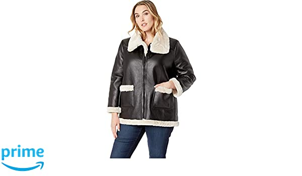 5637c98ae452b5 Vince Camuto Women's Plus Size Long Sleeve Pleather Shearling Trimmed Jacket  at Amazon Women's Coats Shop