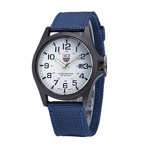 Military Watch,Men Analog Watches Army Filed Tactical Sport Wrist Watches Canvas Strap Calendar Date (Blue)