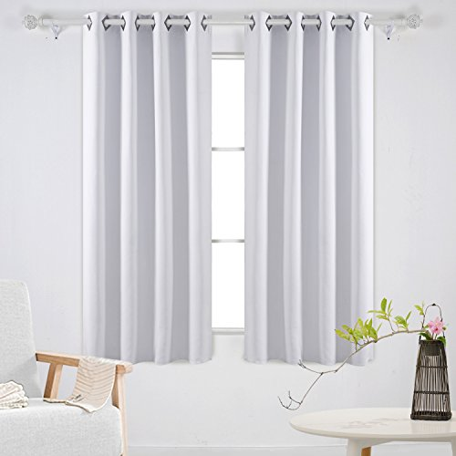 Deconovo Solid Blackout Curtains Room Darkening Curtains Grommet Curtains Insulated Curtains for Living Room 52W x 63L Inch Greyish White 2 Panels
