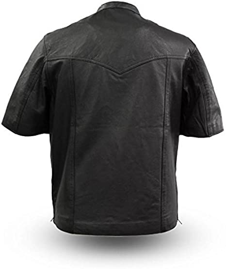Men/'s Renegade Lightweight Motorcycle Black Leather Half Sleeve Shirt