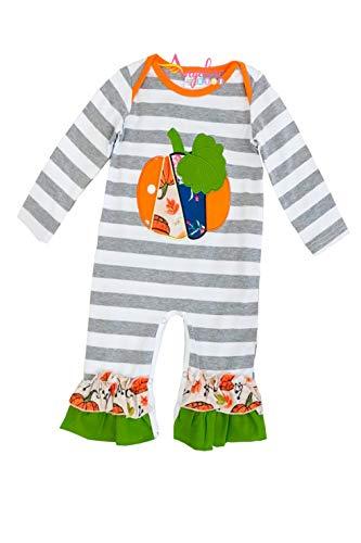 Baby Infant Girls Halloween Vintage Pumpkin Gray Stripes Romper 18-24M/XL ()