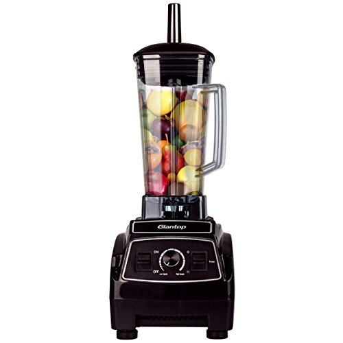 Glantop 2L Professional Commercial Blender Home Bar Restaurant Powerful Multifunction High Performance Food Processor Mixer Nutrition Blender for Vegetable, Fruit, Smoothie, Ice (2200w, Black)
