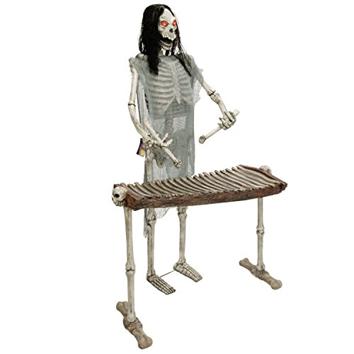 Halloween Haunters Life-Size Standing Skeleton Zombie Man Playing Xylophone Musician Rock Band Prop Decoration - Thick Rubber Latex