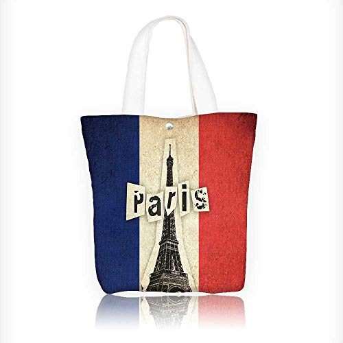 (Ladies canvas tote bag Grunge flag of France French country with Eiffel Tower and text reusable shopping bag zipper handbag Print Design W16.5xH14xD7 INCH)