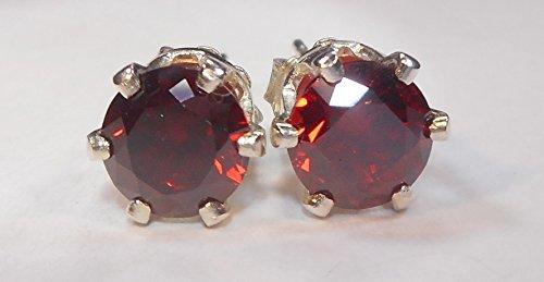 Mystic Mountain Jewels Handmade Unisex Mens Womens 6mm 1 Carat 1Pair 925 Sterling Silver 6 Prong Post Stud Earrings CZ Diamond Cubic Zirconia Dark Ruby Garnet Red ()