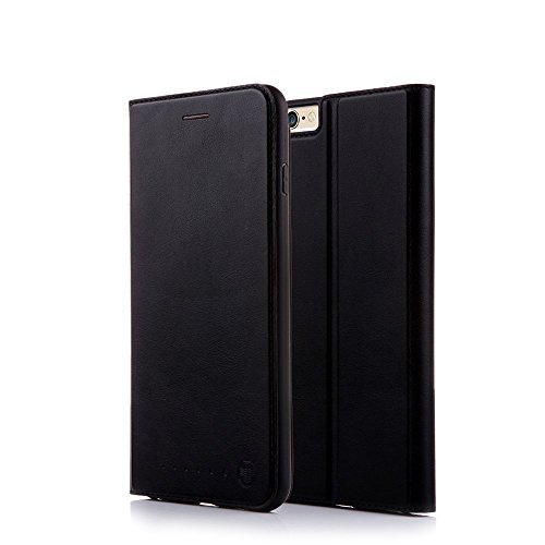Nouske iPhone 6/6S Flip Folio Wallet Stand up Credit Card Holder Leather Case Cover Holster/Magnetic Closure/TPU bumper/360 Full Body Protection, Black ()