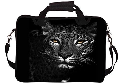 Snoogg Schwarzweiß-Leopard druckte Notebook-Tasche mit Schultergurt 15 bis 15,6 Zoll