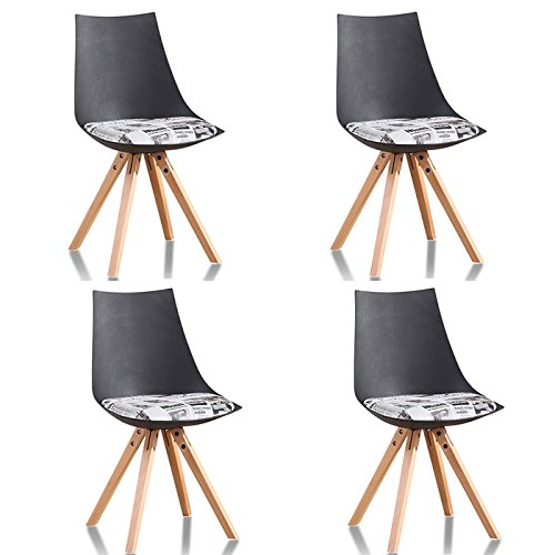 Lot de 4 chaise scandinaves scandinaves noire - Minsk