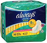 Always Ultra Thin Active Flexi-Wings Pads Regular Clean Scent - 12pks of 16, Pack of 2