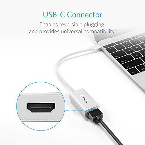 Anker USB C to HDMI Adapter, Aluminum Portable USB C Hub, Supports 4K/60Hz, for MacBook Pro 2016/2017/2018, ChromeBook, XPS, Samsung S9, and More