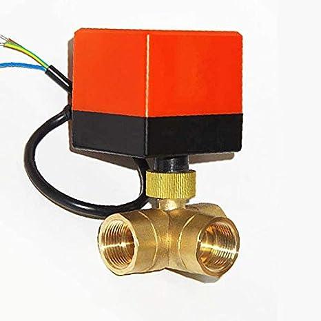 صمام - صمام كروي نحاسي يعمل بمحرك ثلاثي الاتجاهات، مزود بمحرك من النوع T، سخان مياه بالطاقة الشمسية، J19085 (DN20)