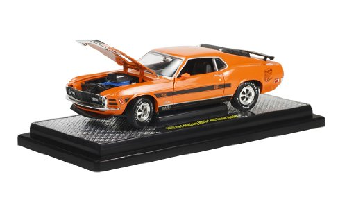 M2 Machines 1970 Ford Mustang Mach 1428 Twister Special Diecast Vehicle, Orange, 1:24 Scale