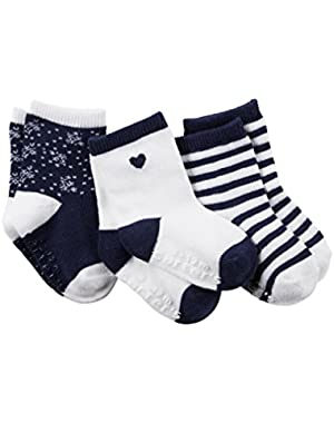 Girl 3-Pack Patterned Crew Socks; Navy & White, Size 12-24 M (Shoe Size 4-7)