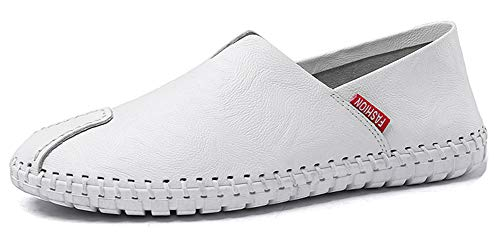 Aisun Men's Comfy Round Toe Driving Cars Slip On Flat Moccasin-Gommino Loafers Shoes (White, 10.5 M US)