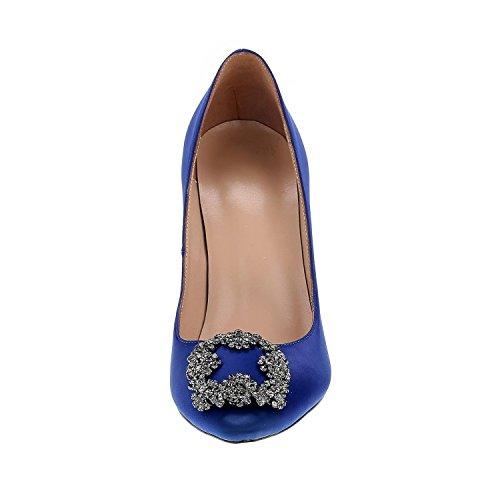 Arc-en-Ciel los zapatos de las mujeres de las bombas de tacón alto del dedo del pie redondo Azul1