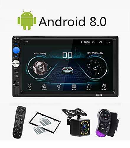 CarThree Android 8.1 Double Din Car Stereo 7 Inch Car Radio Touchscreen with GPS Navigation Wi-Fi USB DVR OBD Backup Camera Bluetooth Hands Free 8 Zone Input Module