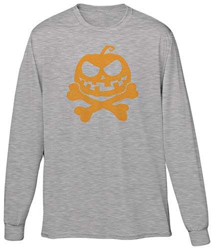 Blittzen Mens LS Jack-o-Lantern Pumpkin Crossbones, L, Light -