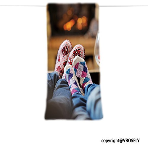 VROSELV Custom Towel Soft and Comfortable Beach Towel-happy young romantic couple sitting on sofa in front of fireplace at winter Design Hand Towel Bath Towels For Home Outdoor Travel Use 11.7''x27.6'' by VROSELV