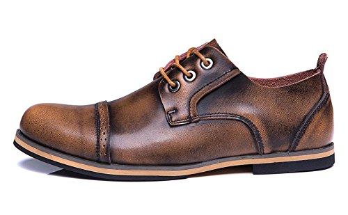 JiYe Mens Genuine Leather Oxfords Shoes Brown hkzdL5