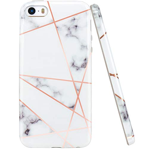 JAHOLAN Shiny Rose Gold Geometric White Marble Design Slim Shockproof Clear Bumper TPU Soft Case Rubber Silicone Cover Phone Case Compatible with iPhone 5 5S SE