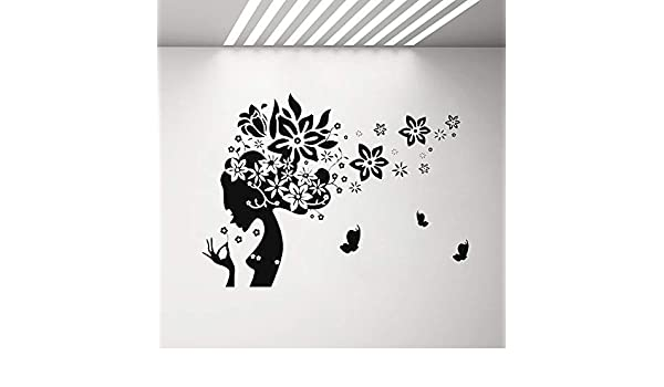 sanzangtang Calcomanías de Pared de salón de Belleza para Mujer y calcomanías de Vinilo de Mariposa para Dormitorio, salón, peluquería, 90x63 cm: Amazon.es: Hogar