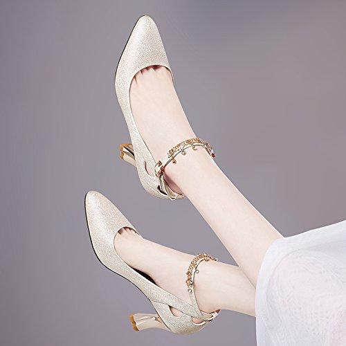 Zapatos Mujer Beige Alto Boca Cm verano Tacon Zapatos Medio Gtvernh Mujeres Rough Señaló Tacón De Salvaje Cuero 8 Superficial d5Uqw7x