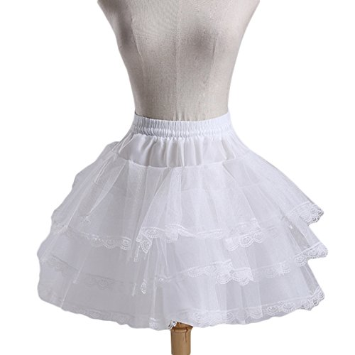 Fishlove Flower Girl Petticoats Childrens 3 Layers Hoopless Lace Tulle Underskirt Slips -