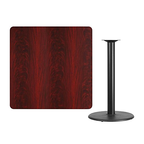 Offex 42'' Square Mahogany Laminate Table Top with 24'' Round Bar Height Table Base