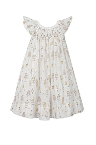 - Feather Baby Girls Clothes Pima Cotton Hand-Smocked Angel Sleeve Woven Dress and Bloomer Set, 12-18 Months, Birthday Treat on White