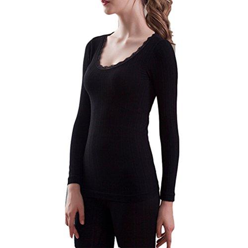 Zhhlinyuan Mujeres Women's Lace Cotton Body-shaped Round Neck Thermal Underwear Set Shirt +Pants Black