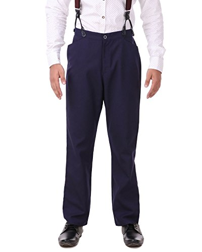 ThePirateDressing Steampunk Cosplay Costume Classic Victorian Men's Pants Trousers C1331 -Navy (Poly Viscose Fabric)-Large ()