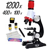Science Kits for Kids Microscope Beginner Microscope Kit LED 100X, 400x, and 1200x Magnification Kids Science Toys,red